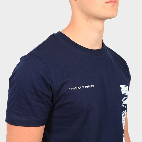 Mercier Mens Blue Printed Badge T-Shirt main image