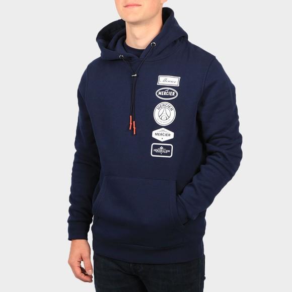 Mercier Mens Blue Printed Badge Hoodie