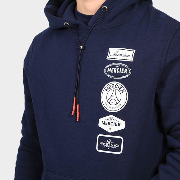 Mercier Mens Blue Printed Badge Hoodie main image