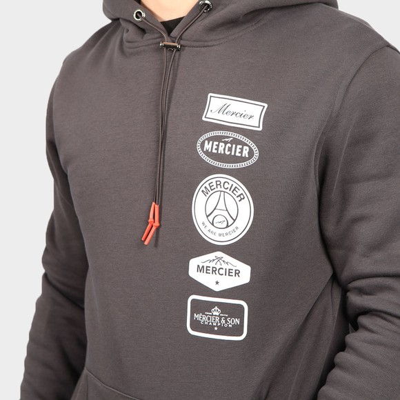 Mercier Mens Grey Printed Badge Hoodie main image