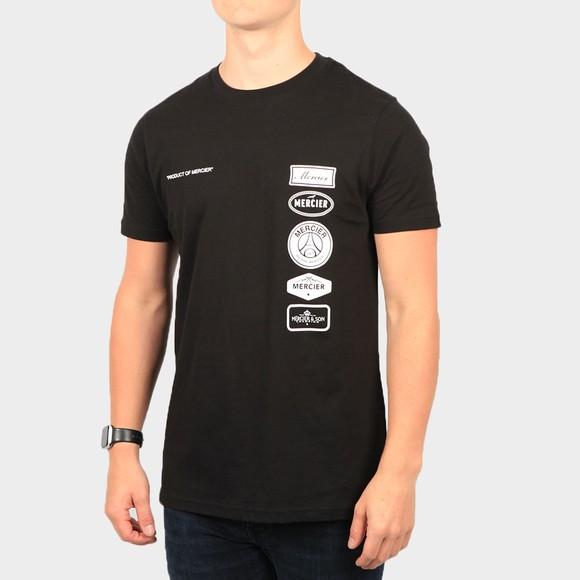 Mercier Mens Black Printed Badge T-Shirt