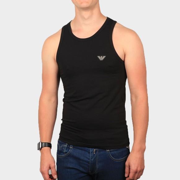 Emporio Armani Mens Black Embroidered Logo Vest