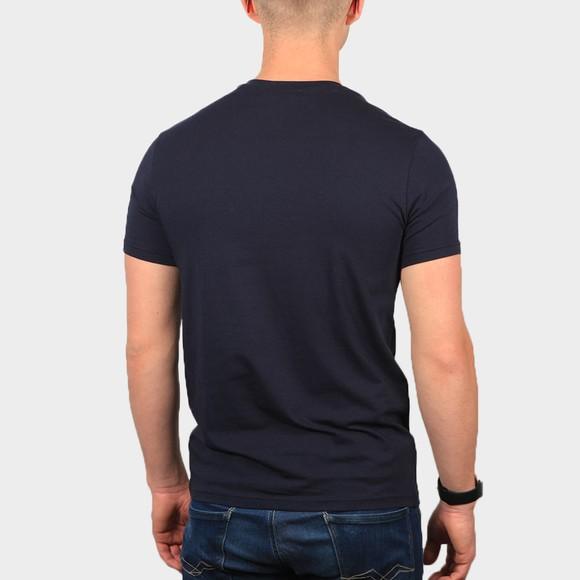 Emporio Armani Mens Blue Embroidered Eagle Logo Stretch T Shirt main image