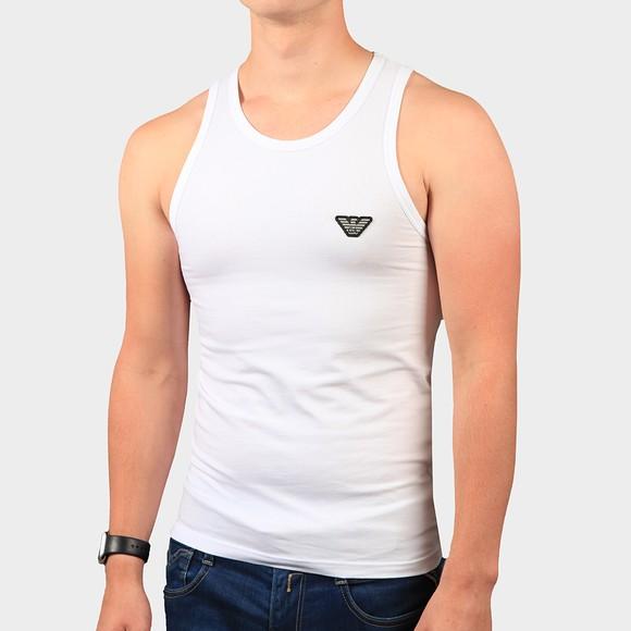Emporio Armani Mens White Embroidered Logo Vest