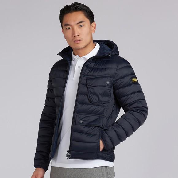 Barbour International Mens Blue Ouston Hooded Quilt Jacket