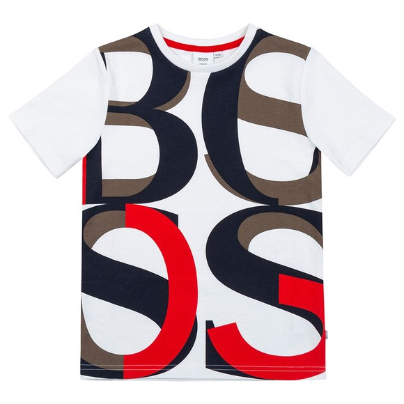 BOSS Boys Multicoloured J25N19 Large Allover Logo T Shirt main image
