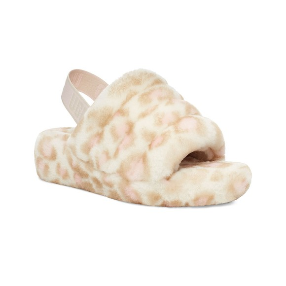 Ugg Womens White Fluff Yeah Panther Print Slide