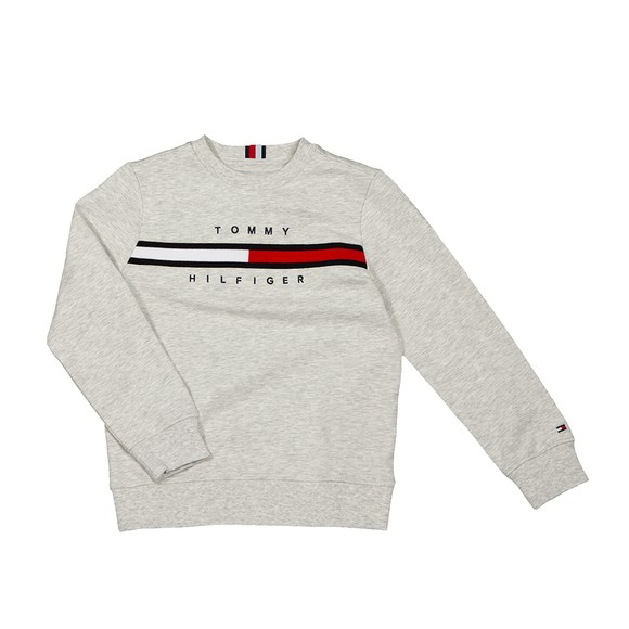 Tommy Hilfiger Kids Boys Grey Flag Rib Insert Sweatshirt
