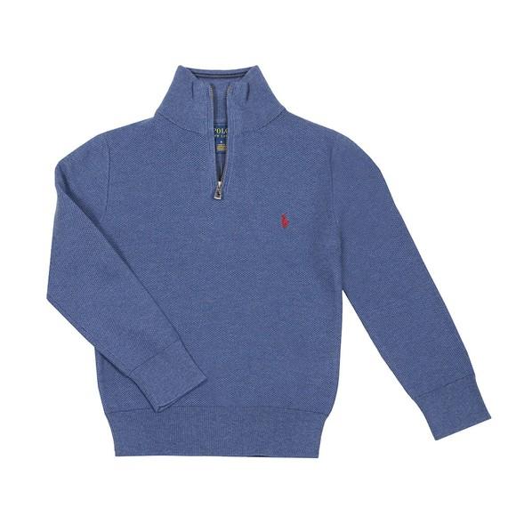 Polo Ralph Lauren Boys Blue Boys Textured Half Zip Jumper