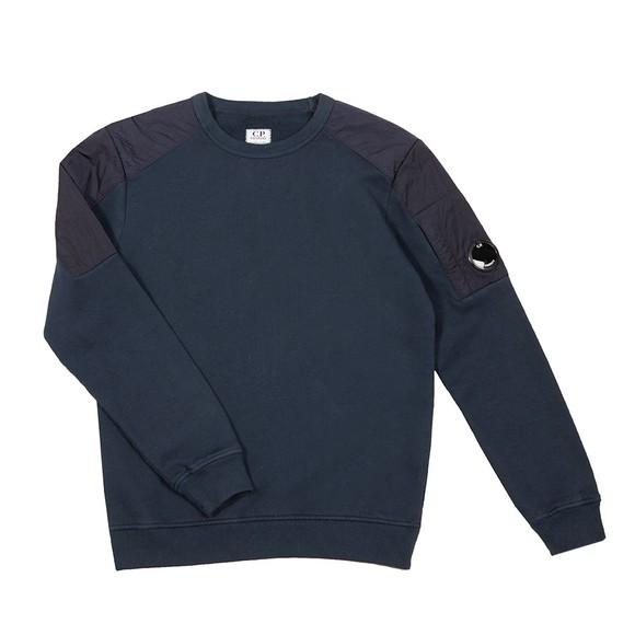 C.P. Company Undersixteen Boys Blue Nylon Shoulder Crew Sweatshirt