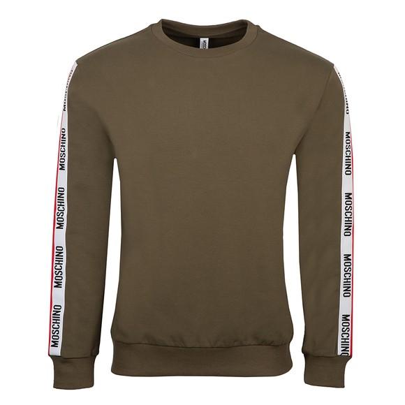 Moschino Mens Green Tape Crew Sweatshirt