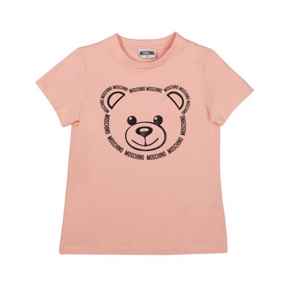 Moschino Girls Pink Large Bear Logo T Shirt