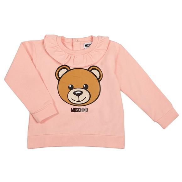 Moschino Girls Pink Ruffle Neck Sweatshirt
