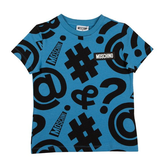 Moschino Boys Blue Alaskan Symbols T Shirt main image