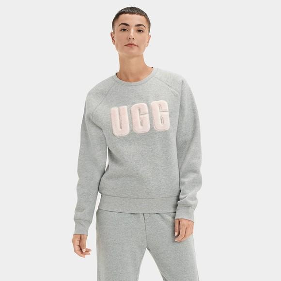 Ugg Womens Grey Madeline Fuzzy Logo Crew Neck Sweatshirt