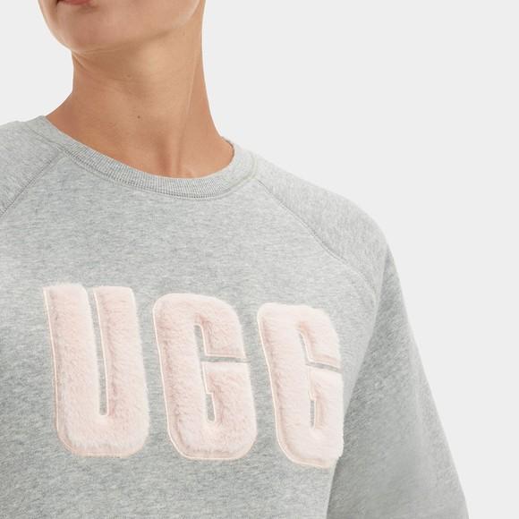 Ugg Womens Grey Madeline Fuzzy Logo Crew Neck Sweatshirt main image