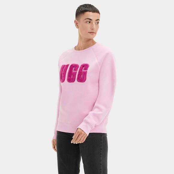 Ugg Womens Orange Madeline Fuzzy Logo Crew Neck Sweatshirt