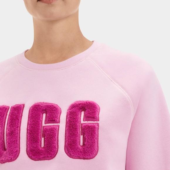 Ugg Womens Orange Madeline Fuzzy Logo Crew Neck Sweatshirt main image