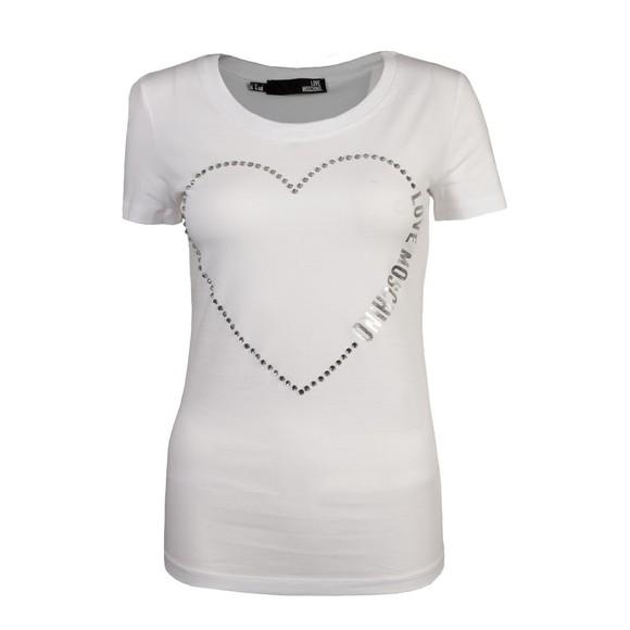 Love Moschino Womens White Big Diamond Stud Heart T-Shirt
