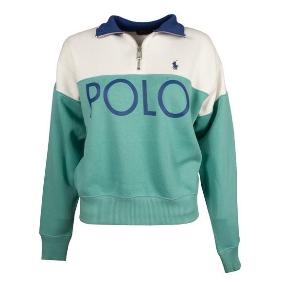 Polo Ralph Lauren Womens White Colour Block Fleece Half Zip Sweatshirt