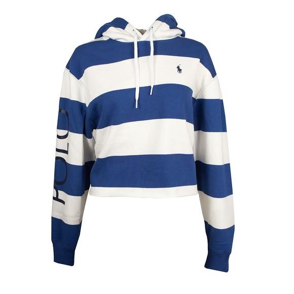 Polo Ralph Lauren Womens Blue Stripe Cropped Fleece Hoody