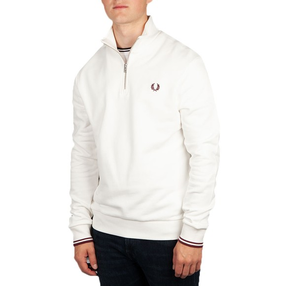 Fred Perry Mens Off-White 1/2 Zip Sweatshirt