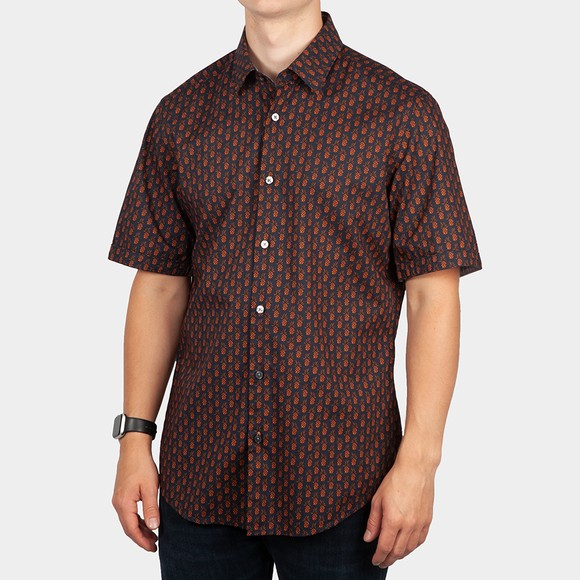 BOSS Mens Blue Formal Luka 2F Pineapple Shirt