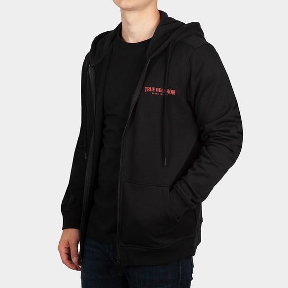 True Religion Mens Black Full Zip Logo Hoody