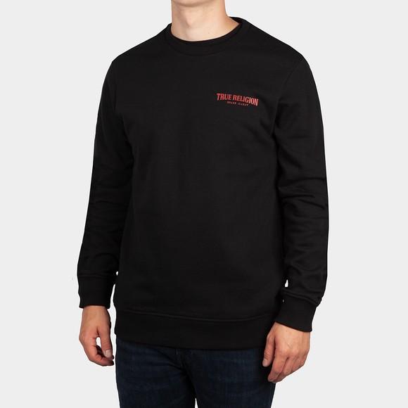 True Religion Mens Black Arch Logo Crew Sweatshirt