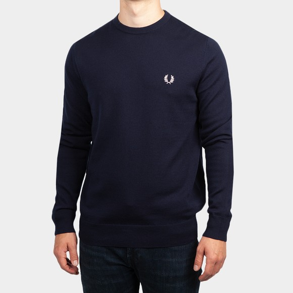 Fred Perry Mens Blue Classic Crew Neck Jumper