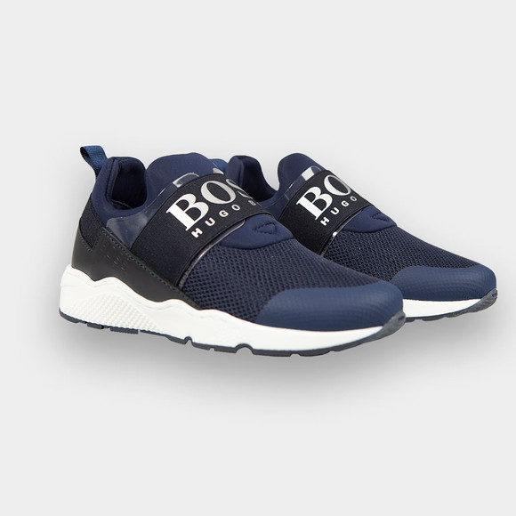 BOSS Boys Blue J29M93 Logo Trainer main image