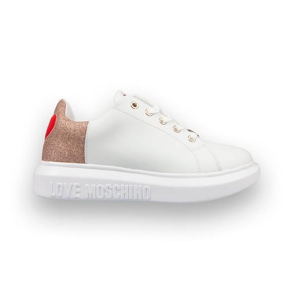Love Moschino Womens White Glitter Back Trainer