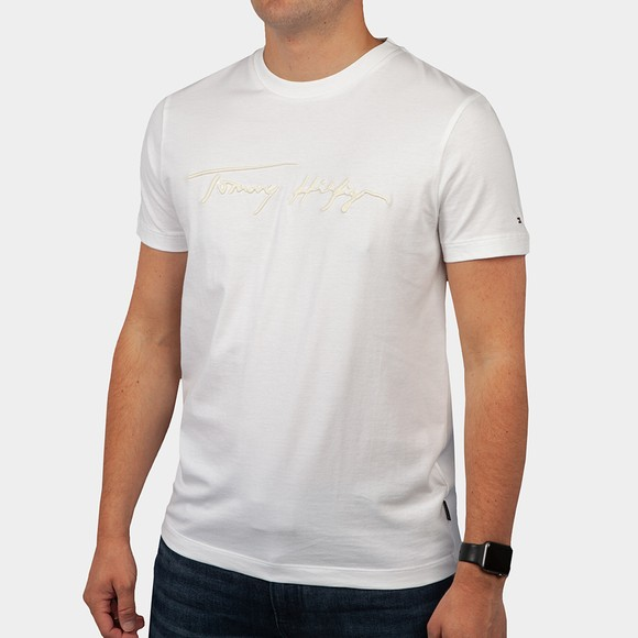 Tommy Hilfiger Mens White Signature Graphic T-Shirt