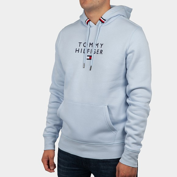 Tommy Hilfiger Mens Blue Stacked Hooded Sweatshirt