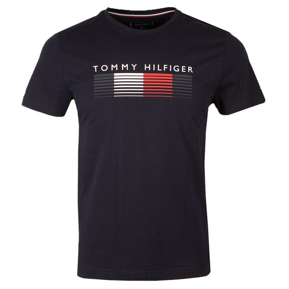 Tommy Hilfiger Mens Blue Fade Graphic Corp T-Shirt