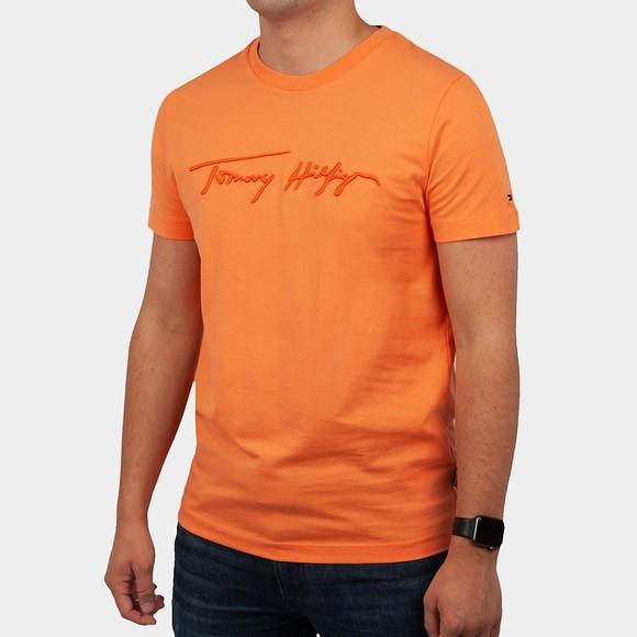 Tommy Hilfiger Mens Orange Signature Graphic T-Shirt