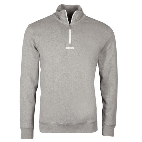 BOSS Mens Grey Casual Zapper Half Zip Sweatshirt