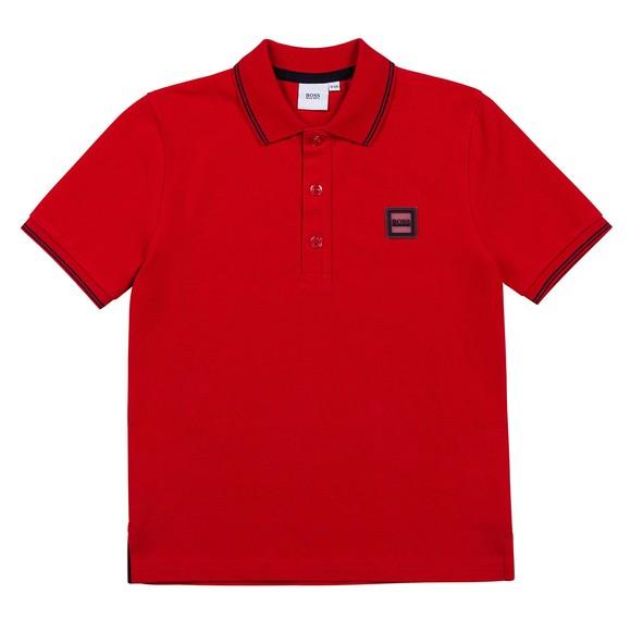 BOSS Boys Red J25L73 Square Badge Polo Shirt
