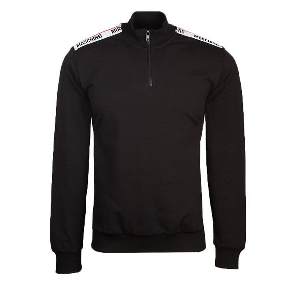 Moschino Mens Black Shoulder Tape Half Zip Sweatshirt