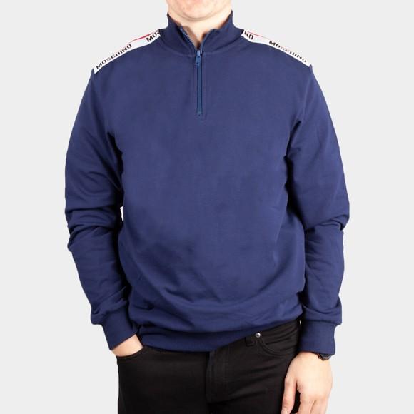 Moschino Mens Blue Shoulder Tape Half Zip Sweatshirt