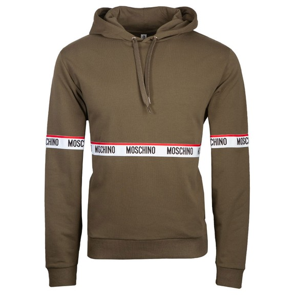 Moschino Mens Green Tape Front Overhead Hoody