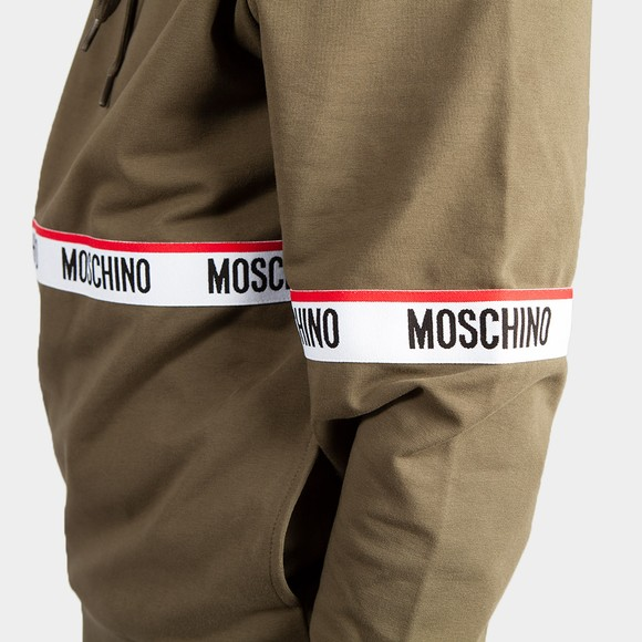 Moschino Mens Green Tape Front Overhead Hoody main image
