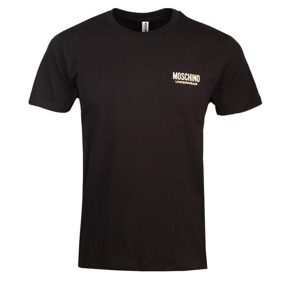 Moschino Mens Black Gold Bear Tape T Shirt
