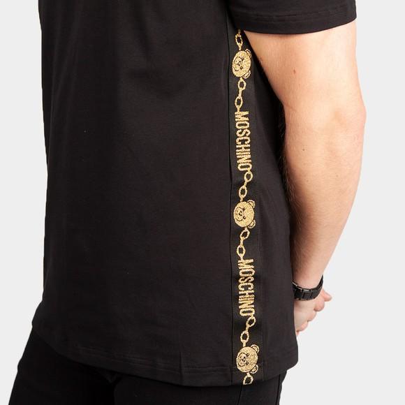 Moschino Mens Black Gold Bear Tape T Shirt main image