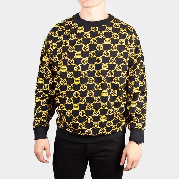 Moschino Mens Black Chain Print Crew Sweatshirt