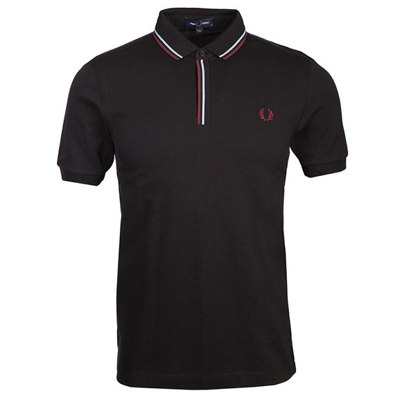 Fred Perry Mens Black Tipped Placket Polo Shirt