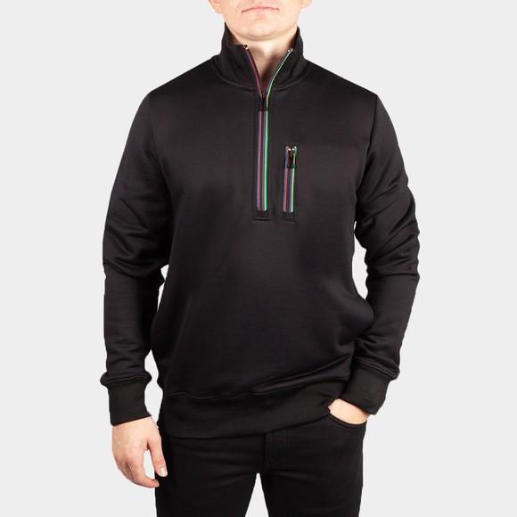 PS Paul Smith Mens Black Half Zip Stripe Sweatshirt