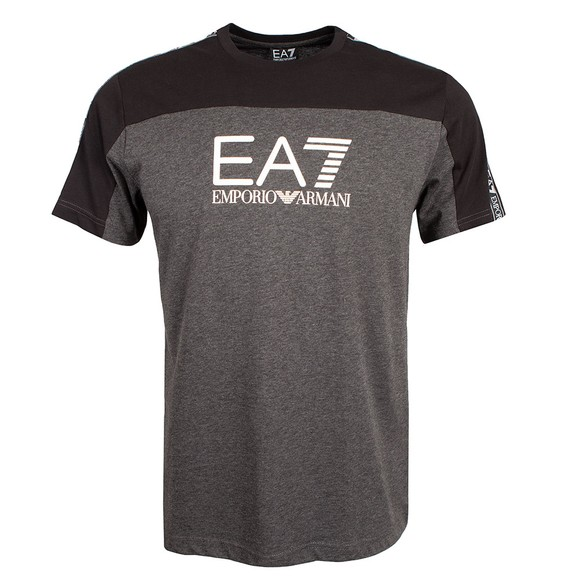 EA7 Emporio Armani Mens Grey Colour Block T-Shirt