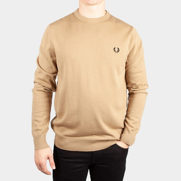 Fred Perry Mens Beige Classic Crew Neck Jumper