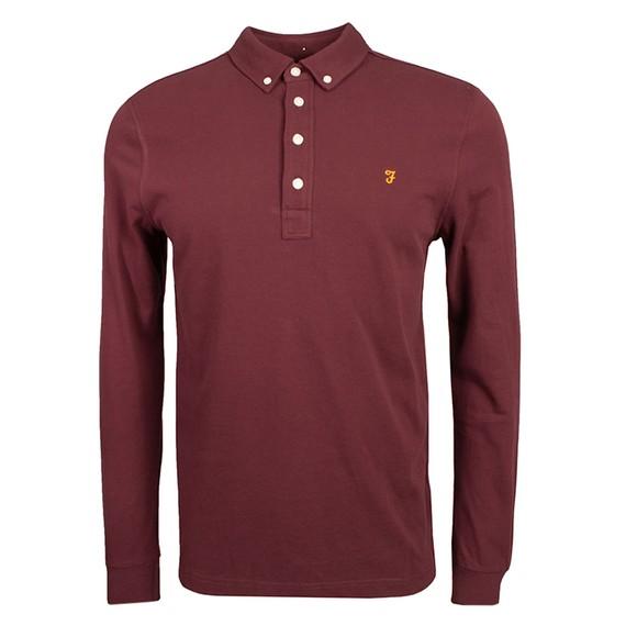 Farah Mens Red Ricky LS Polo Shirt